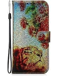 Fatcatparadise Funda para Samsung Galaxy A10 / M10 [con Protector Pantalla], Glitter Bling 3D PU Cuero Carcasa Cartera Billetera Tapa Flip Case Antigolpes Parachoques Case Cover (Tigre)