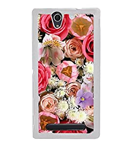 ifasho Designer Back Case Cover for Sony Xperia C3 Dual :: Sony Xperia C3 Dual D2502 (Day Off Rose Essential Oil Patanjali Rose Water Sunflower)