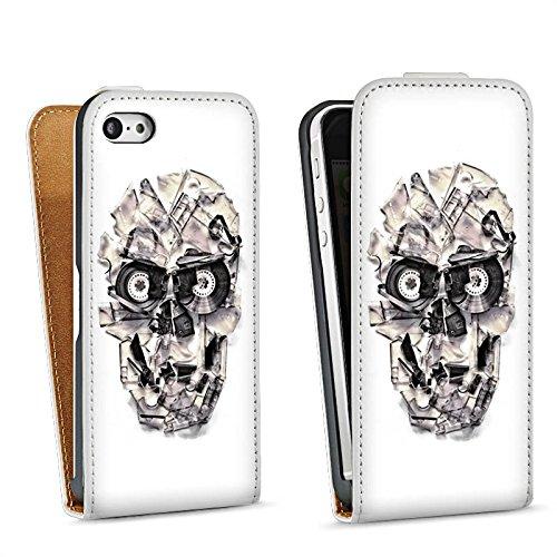 Apple iPhone 6 Housse Étui Silicone Coque Protection Crâne Tête de mort Crâne Sac Downflip blanc