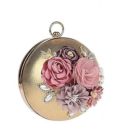 MYLL Frauen Dinner Handtasche Blumen Runde Ball Tasche Kosmetik Fall,Gold