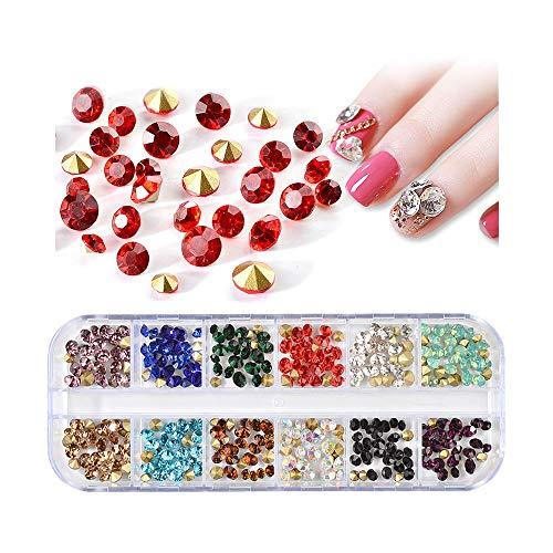 NANIH Home 12 Couleurs Mix Couleur Circulaire Vague allumé Fond Plat Ongles gemmes Marquise Cristal Bricolage 3D Ongles décoration (Color : StyleI)