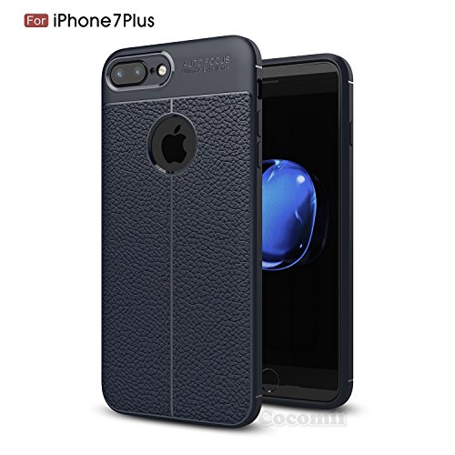 iPhone 8 Plus / 7 Plus Hülle, Cocomii Ultimate Armor NEW [Heavy Duty] Premium Leather Pattern Slim Fit Shockproof Hard Bumper Shell [Military Defender] Full Body Dual Layer Rugged Cover Case Schutzhül Deep Blue