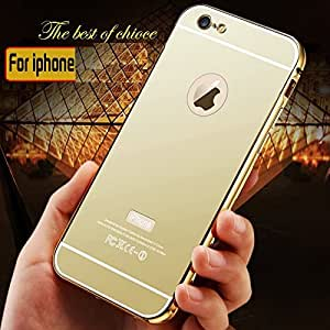 RKMOBILES Luxury Metal Bumper Acrylic Mirror Back Cover Case For Apple iPhone 6 or iPhone 6s,Gold