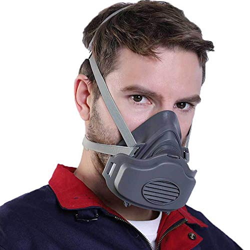 FOONEE Half Face Dust Gas Atemschutzmaske Mit Verstellbarem Kopfband, Wiederverwendbarer Aktivkohle-Sicherheits-Anti-Virus-Maske, Leistungsstarke Filtration Giftiger Und Gefährlicher Substanzen (Gesicht Nicht Malen Giftig)