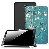 Fintie Hülle kompatibel mit Samsung Galaxy Tab A 10,1 Zoll T580N / T585N - Ultradünne Superleicht Schutzhülle mit transparenter Rückseite Abdeckung, Auto Schlaf/Wach Funktion, Mandelblüten
