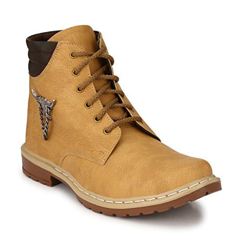 Oladin Mens Heavy Artificial Leather High Ankle Stylish Boots BEIGE/BROWN(NHT-30006)