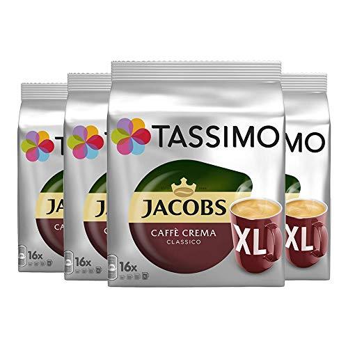 Tassimo Jacobs Caffè Crema Classico XL, Kaffee, Kaffeekapsel, gemahlener Röstkaffee, 4er Pack, 4 x...