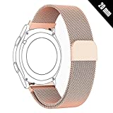 Shellong Uhrenarmband für Huawei Watch 2 Sport, Ticwatch 2, Samsung Gear S2 Classic/Sport, Nokia Withings Steel HR 40 mm Smartwatch, 20MM-ML2018, Rose Gold, 20 mm