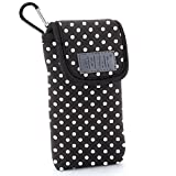 Soft Sunglasses and Eye Glasses Case Scratch Resistant Protective Pouch with Travel Belt Loop and Carabiner Clip by USA GEAR - Works with Ray Ban & Most Brands of Glasses - Polka Dot