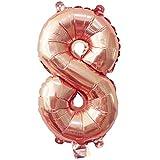 Glanzzeit® 40cm Rosa Gold Luftballons Buchstaben A bis Z Zahlen 0 bis 9 Verlobung Hochzeit Babyparty Jubiläum Geburtstag Party Weihnachten Fest Deko Folienballons (Zahl 8)