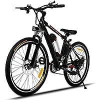 AIMADO VTT Électrique Tout-Terrain à 21 Vitesses, 26in E-Bike avec Lithium-Ion Batterie amovible 36V 250W et Phare à LED - Vitesse 30 km/h – Autonomie de 45-55 km (EU Stock)