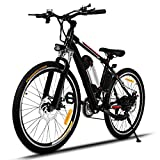 Profun Vélo de Montagne électrique 27.5/26 Pouces 350W/250W avec Shimano 24/21 Vitesse E-VTT avec Batterie au Lithium Amovible 36 V 10.4Ah/36V 8Ah pour Hommes Femmes (26'' noir)