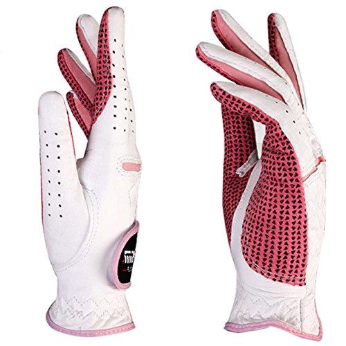 Feoya Damen Golf Handschuhe für beide Hände Cabretta-Leder Lady Golf Glove-Gr. S bis 2X L, Damen, weiß/pink