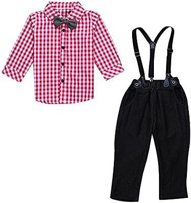 Le SSara Niños caballero manga larga camisa y Overol de mezclilla Conjuntos de traje de 2 piezas