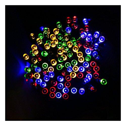 la chaine de lumieres solaire 12m lumiere multicolore - SODIAL(R)39pi 12m 100 LEDs alimente par soleil Eclairage d'Ambiance la chaine de lumieres pour Jardins exterieurs Maisons fete de Noel (lumiere multicolore)