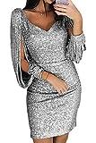 ORANDESIGNE Damen Abendkleider Sexy V-Ausschnitt Cocktailkleid Glänzend Hoch Maxikleider für Hochzeit Festlich Silber DE 38