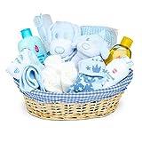 Baby Box Shop Kit Neonato in un elegante Cesto Vimini - Set neonato accessori in cesto in vimini - Regali per neonati perfetti per baby shower e battesimi - Tutto per neonati - Blu