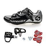 TXJ Rennradschuhe Fahrradschuhe Radsportschuhe mit Klickpedale EU Größe 41 Ft 25.5cm (SD-001 Silber / Schwarz)(pedale schwarz)