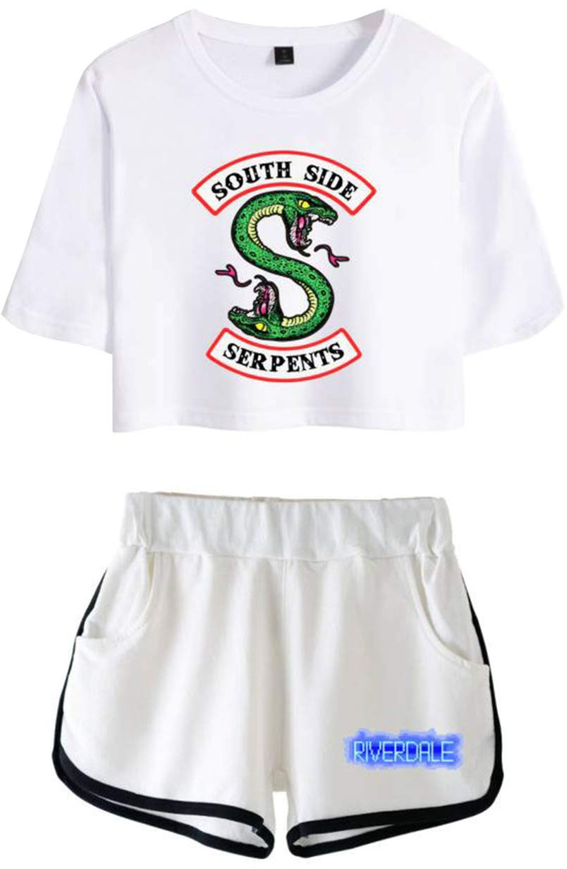 OLIPHEE Chándales con Logo Batalla de Riverdale Camisa y Pantalones Cortos de Verano para Mujer