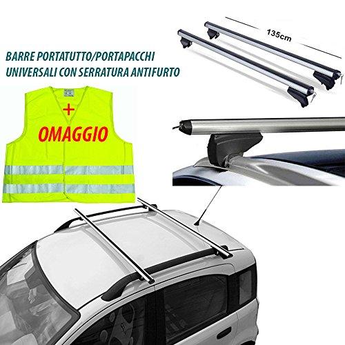 Lupex BARRE PORTAPACCHI 7886 UNIVERSALI AUTO CON SERRATURA ANTIFURTO 135CM + Gilet di emergenza in omaggio