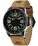 Timberland Caswell Men's Quartz Watch with Black Dial Analogue Display and Brown Leather Strap 14247JSBU/02