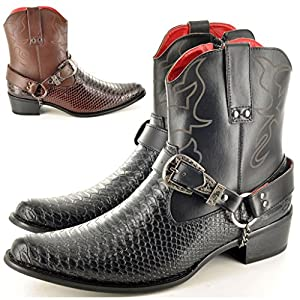 Mens Snake Skin Cowboy Ankle Boots with Harness
