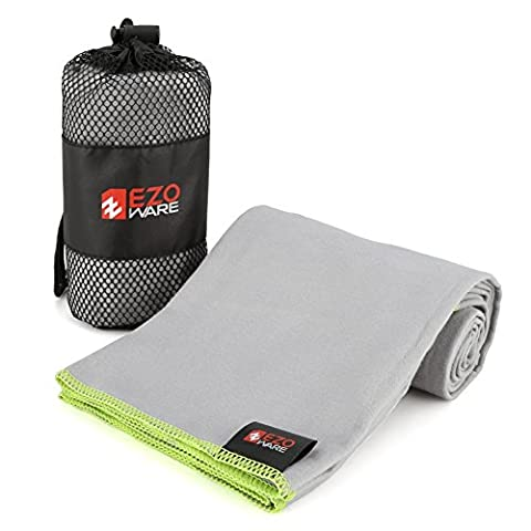 EZOWare Microfibre Towel Super Absorbent Quick Dry with Carry Pouch for Swimming Pool, Travel, Beach, Bath, Gym, Yoga, Pilates, Camping, Home, or Outdoor Sports- Grey and Green Trim