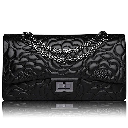 Macton , Damen Schultertasche Schwarz schwarz Large Size 30CM (Lady Dior)