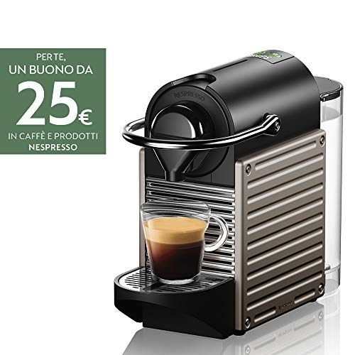 Krups Nespresso Pixie XN304TK Macchina per caffè Espresso, Ricette Programmabili, 1260 W, Titan, 0.7 Litri