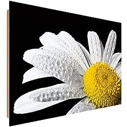 Feeby Frames, Cuadro de pared, Cuadro decorativo, Cuadro impreso, Cuadro Deco Panel, 60x80 cm, COMPOSICIÓN, MAKRO, FLORES, MARGARITAS, BLANCO, AMARILLO, NEGRO
