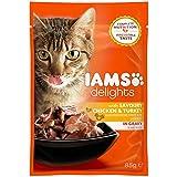 Iams Delights Adult Huhn & Pute, Nassfutter für erwachsene Katzen, Probiergröße, Einzelbeutel (85 g)