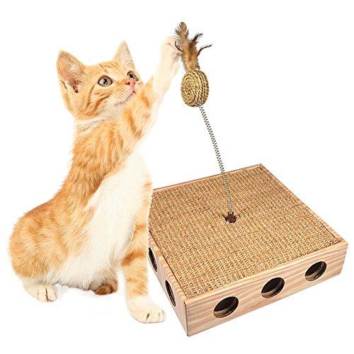 Wellpappe Katze Spielzeug Kratzspielzeug mit Feder mit natürlichen Sisal Scratch Matte Ball Spielzeuge Seitenlöcher Fang Leder in der Luft Holzmaserung