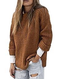 ce9c7e3c3aa8 5 ALL Damen Sweater Winter Sweatshirt Beiläufige Lose Rundhals Langarm  Stricken Bluse Asymmetrisch Pullover Oberteile Oversize Tops…