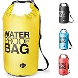 Premium Wasserdichte Tasche Dry Bag, Dry Tasche und lang Verstellbarer Schultergurt für Boot und Kajak, Angeln, Rafting, Schwimmen, Camping und Snowboarden - 10L / 20L (Gelb, 20L)