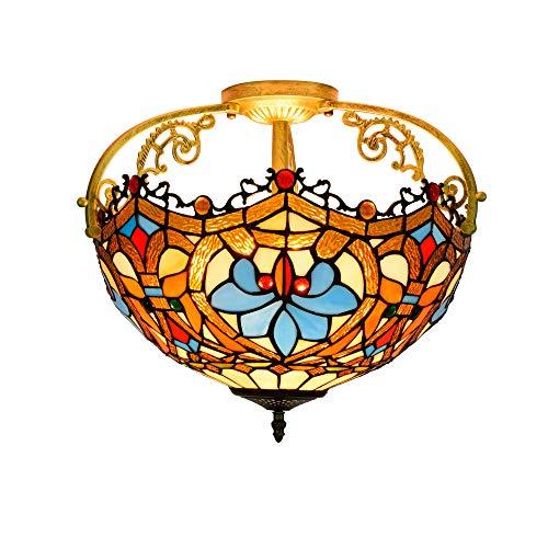 16 Zoll Decken Kronleuchter Retro Liebe Perlen Glasmalerei Deckenleuchte Tiffany Stil Unterputz Deckenleuchte Gang Korridor Veranda Licht Schlafzimmer Badezimmer Pendelleuchte E27 * 3 / 40W -