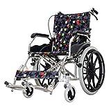 MTX Ltd Behindertenrollstuhl, Rollstuhlgeklappter Leichtgewichtsrollstuhl, Aluminiumrollstuhl, Manueller Rollstuhl, Klappbarer Reisesitzrollstuhl, Abnehmbar, Tragbar, Für Ältere Menschen,A,1