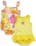 Carter's 2 Stück Sommer Strampler/Spieler Body für Mädchen Kleidung baby outfit Einteiler Bodykleid (50/56, gelb/orange)