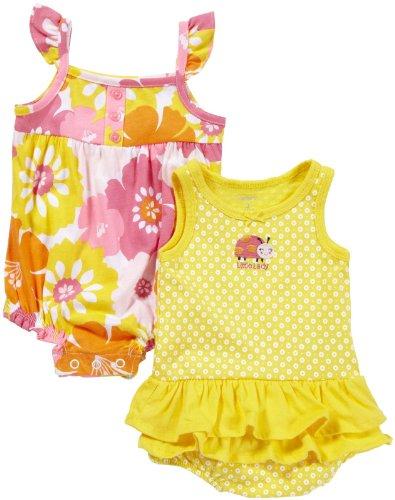 Carter's 2 Stück Sommer Strampler/Spieler Body für Mädchen Kleidung baby outfit Einteiler Bodykleid (50/56, gelb/orange) (2 Carters Mädchen Stück)