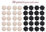 WODISON patè Womens Nipple Covers adesivo del seno Forma petali monouso Stain Fiore (20 coppie) (Nudo e nero)