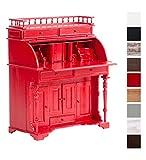 CLP Sekretär ROLL TOP aus Mahagoniholz I Handgefertigter Sekretär im Kolonialstil I In verschiedenen Farben erhältlich Rot