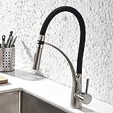 GD Wasserhahn Küche Schwarz Küchenarmatur Gebürstetes Nickel mit Brause Küchen