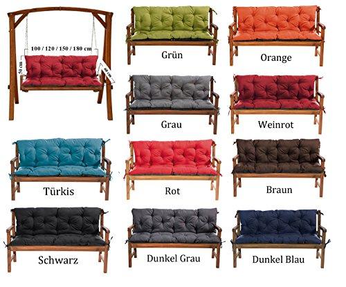 Gartenbankauflage Bankauflage Bankkissen Sitzkissen 100 x 60 x 50 cm Polsterauflage Sitzpolster (grün)