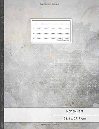 """Notenheft: DIN A4 • 48 Seiten, 24 Blatt, 12 Systeme, """"Violine"""" • Original #GoodMemos Schulheft • Mit Inhaltsverzeichnis und Seitenzahlen, Noten-Lineatur 14"""