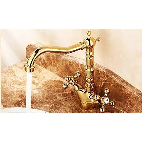 El cobre y el oro Grifo lavabo doble cuenca de agua tipo sit-agujero único baño spin TI Jin Longtou