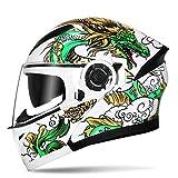 GSDZN - Motorradhelm Integralhelm Halber Helm Personalisierte Doppellinse Anti-Fog Atmungsaktiv, Klares Und Großes Sichtfeld,D-XL