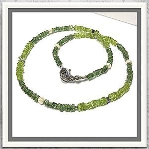 Steincollier mit Peridot, Grossular + Perle 45cm