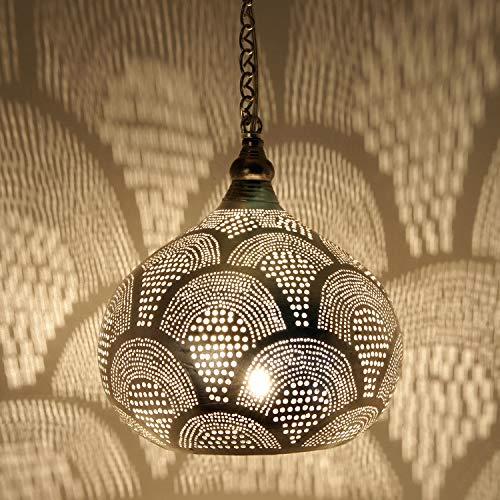 Marokkanische Lampe orientalische Hängelampe Yanara D24 Silber mit E14 Fassung | Messinglampe echt versilbert | Prachtvolle Pendelleuchte für tolle Lichteffekte wie aus 1001 Nacht | EL2018