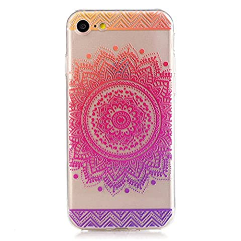 iphone 7 Clear Case,Transparent Rubber Case for iphone 7,Meet de Clear Shock Proof Soft Durable Scratch Resistant Jelly Rubber TPU Protective Case Cover Skin Shell for iphone 7 with Beautiful Colourful Pattern Design-Red round flowers