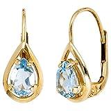 Ohrringe Boutons mit Blautopas Topas hellblau Tropfen 333 Gold Gelbgold