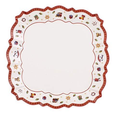 Villeroy & Boch Toy's Delight Servierteller, 26 x 26 cm, Premium Porzellan, Weiß/Rot